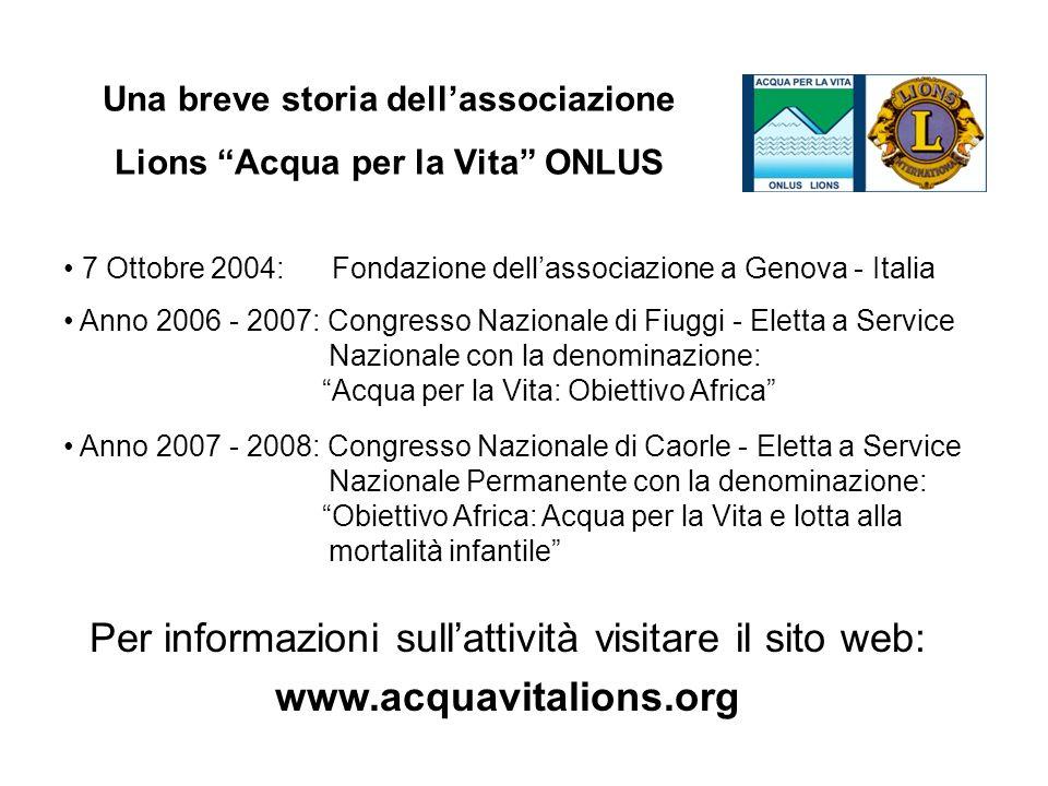 Una breve storia dell'associazione Lions Acqua per la Vita ONLUS