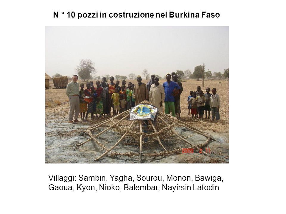 N ° 10 pozzi in costruzione nel Burkina Faso