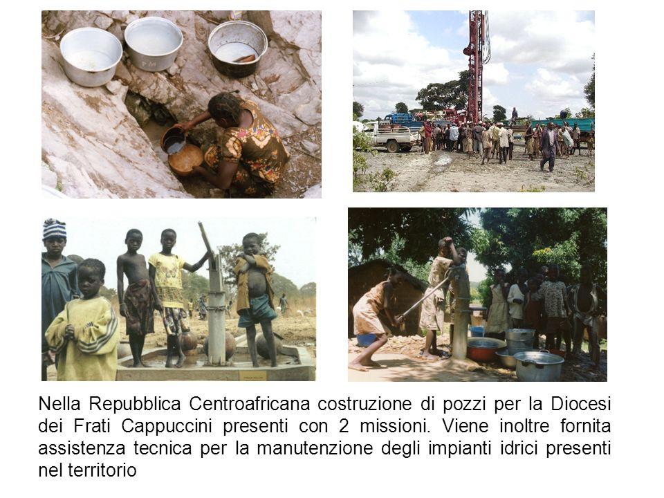 Nella Repubblica Centroafricana costruzione di pozzi per la Diocesi dei Frati Cappuccini presenti con 2 missioni.