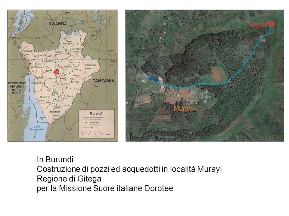 In Burundi Costruzione di pozzi ed acquedotti in località Murayi.