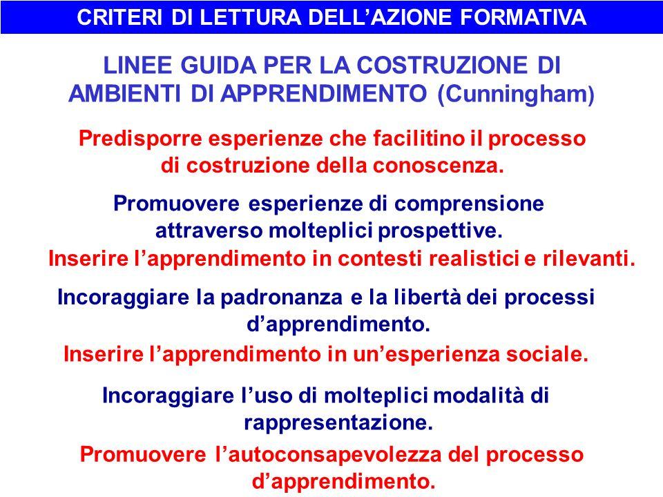CRITERI DI LETTURA DELL'AZIONE FORMATIVA