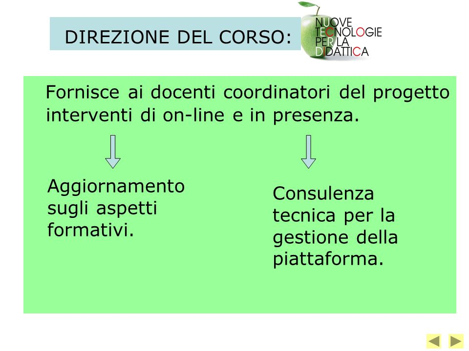 DIREZIONE DEL CORSO: Fornisce ai docenti coordinatori del progetto interventi di on-line e in presenza.