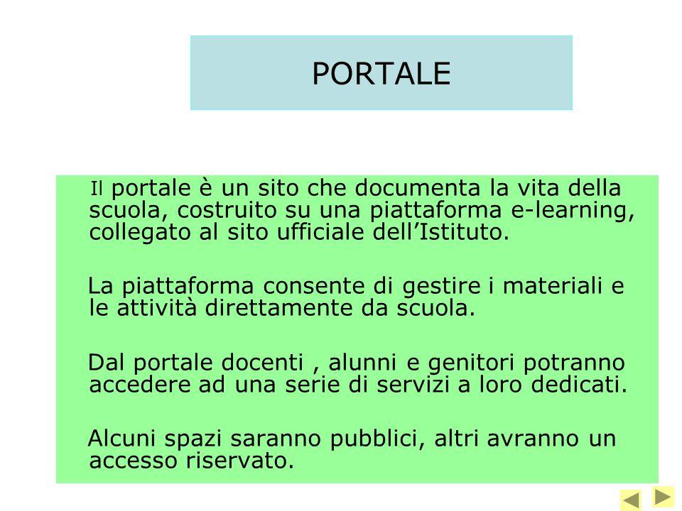 PORTALE Il portale è un sito che documenta la vita della scuola, costruito su una piattaforma e-learning, collegato al sito ufficiale dell'Istituto.