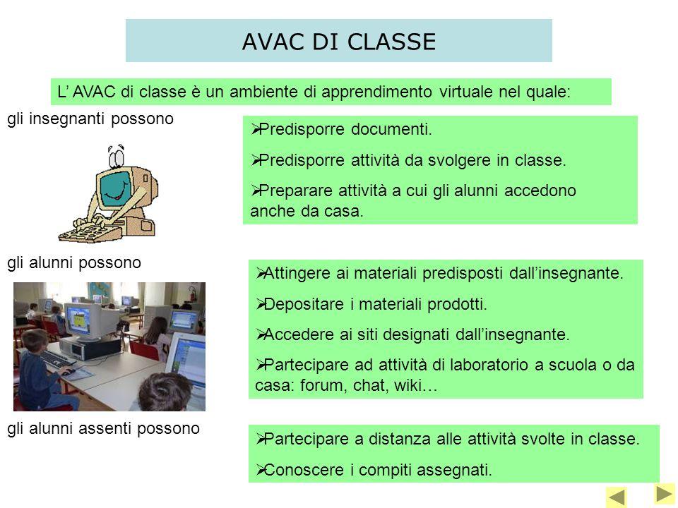 AVAC DI CLASSE L' AVAC di classe è un ambiente di apprendimento virtuale nel quale: gli insegnanti possono.