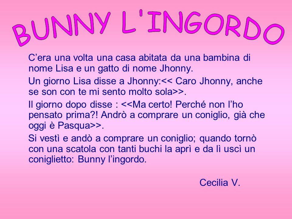 BUNNY L INGORDO C'era una volta una casa abitata da una bambina di nome Lisa e un gatto di nome Jhonny.