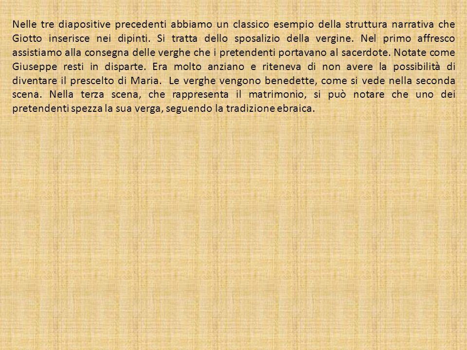 Nelle tre diapositive precedenti abbiamo un classico esempio della struttura narrativa che Giotto inserisce nei dipinti.