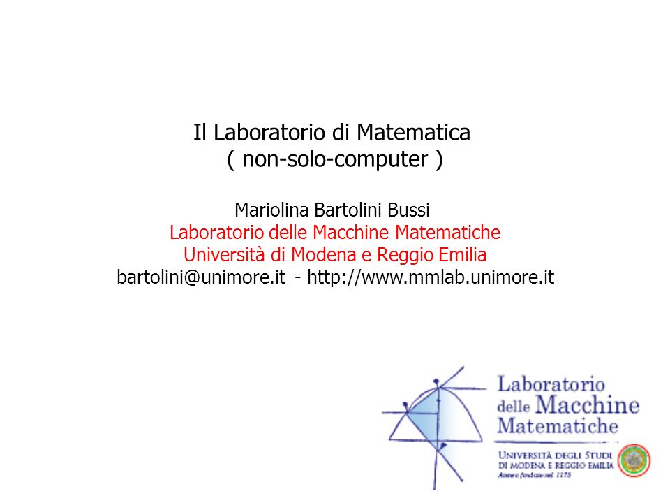 Il Laboratorio di Matematica ( non-solo-computer )