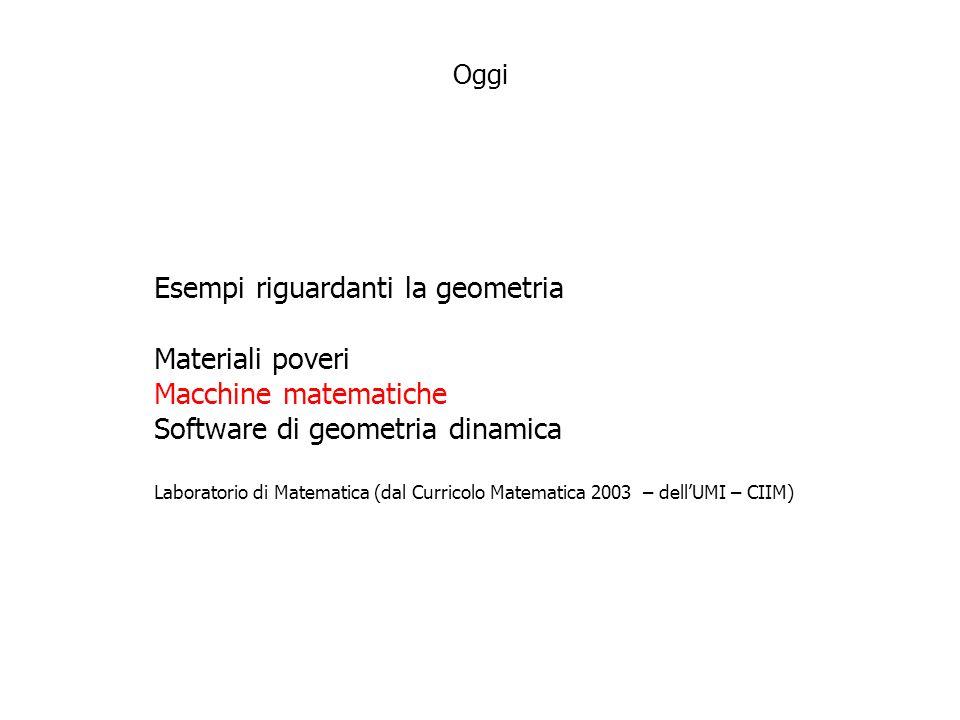 Esempi riguardanti la geometria Materiali poveri Macchine matematiche