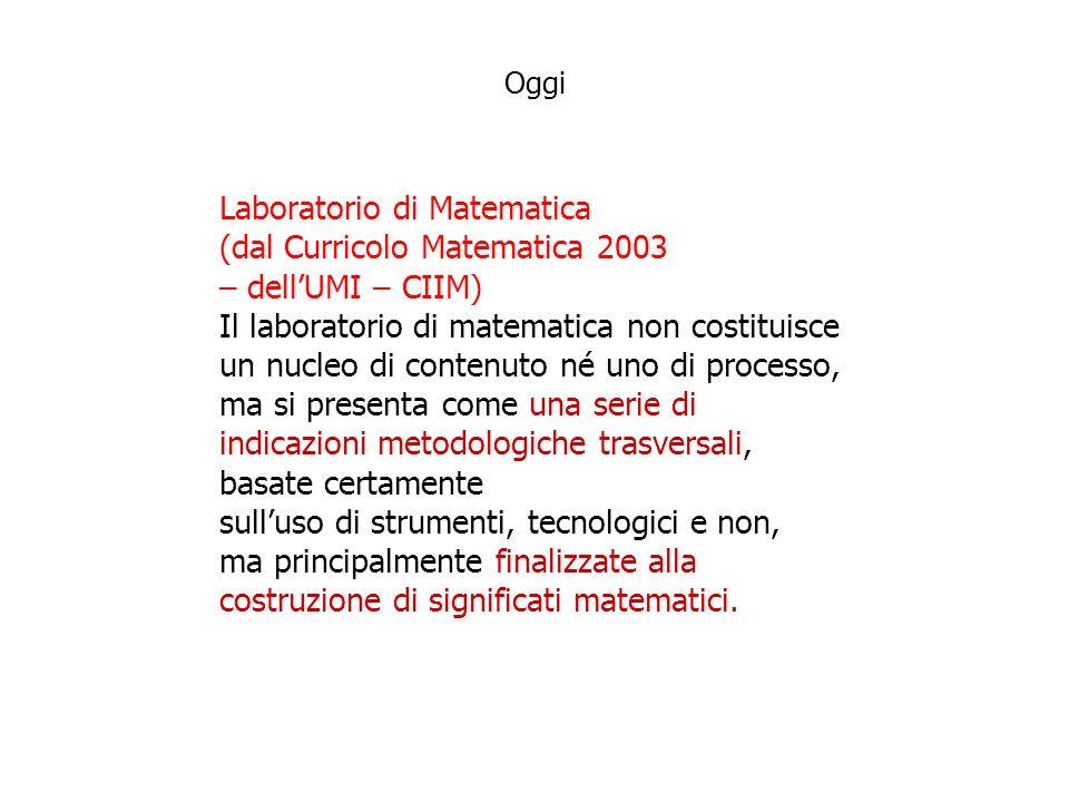 Laboratorio di Matematica (dal Curricolo Matematica 2003