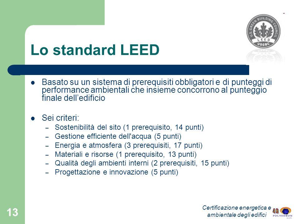 Certificazione energetica e ambientale degli edifici