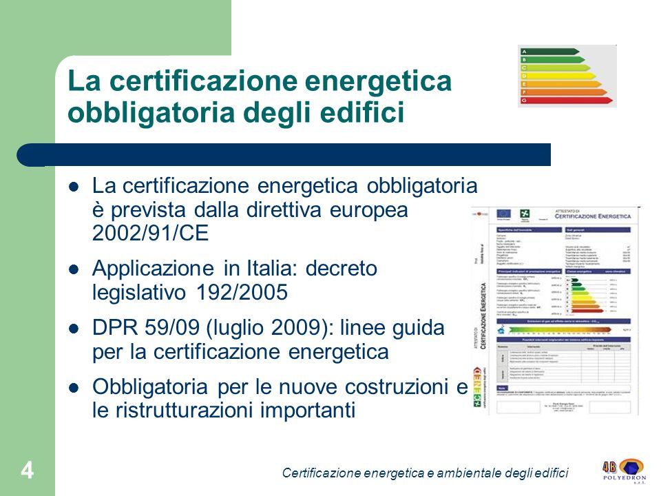 La certificazione energetica obbligatoria degli edifici