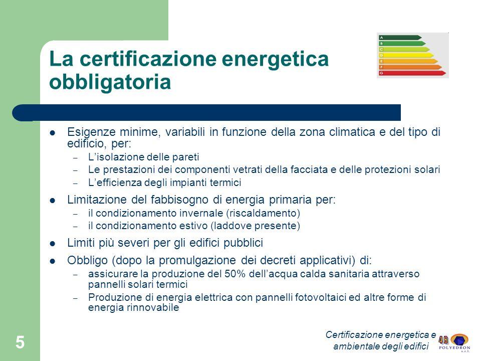 La certificazione energetica obbligatoria