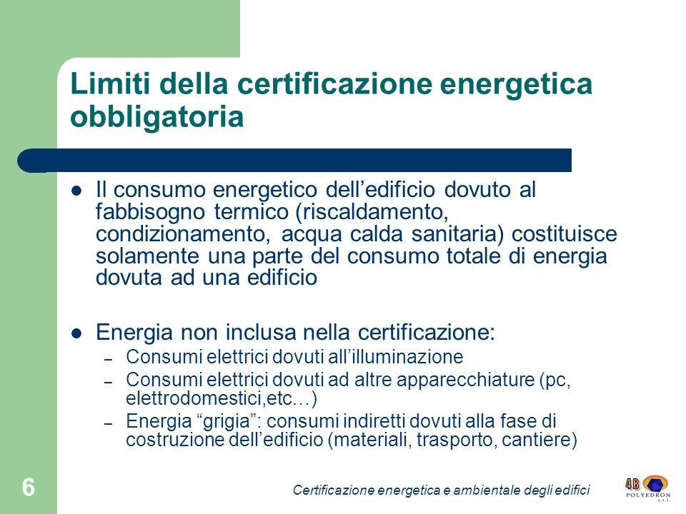 Limiti della certificazione energetica obbligatoria