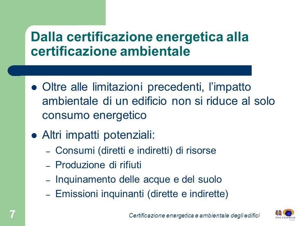 Dalla certificazione energetica alla certificazione ambientale