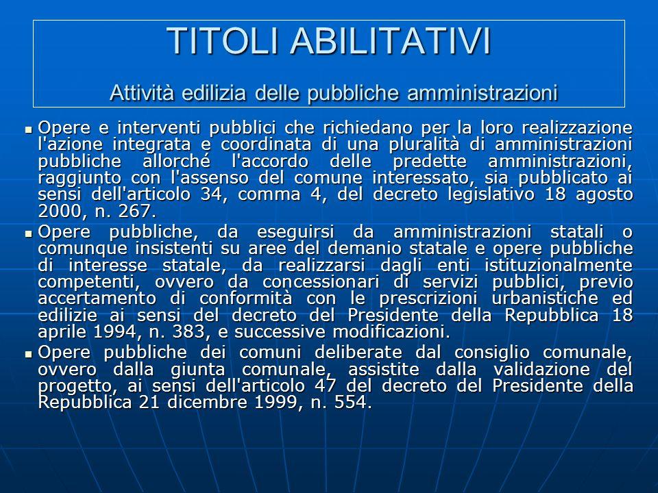 TITOLI ABILITATIVI Attività edilizia delle pubbliche amministrazioni
