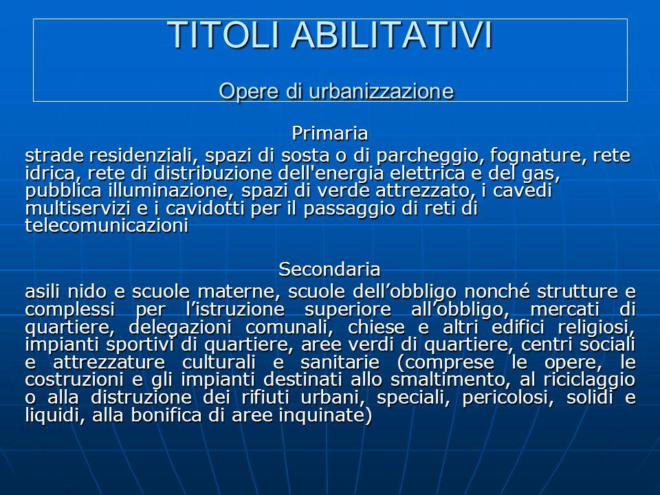 TITOLI ABILITATIVI Opere di urbanizzazione