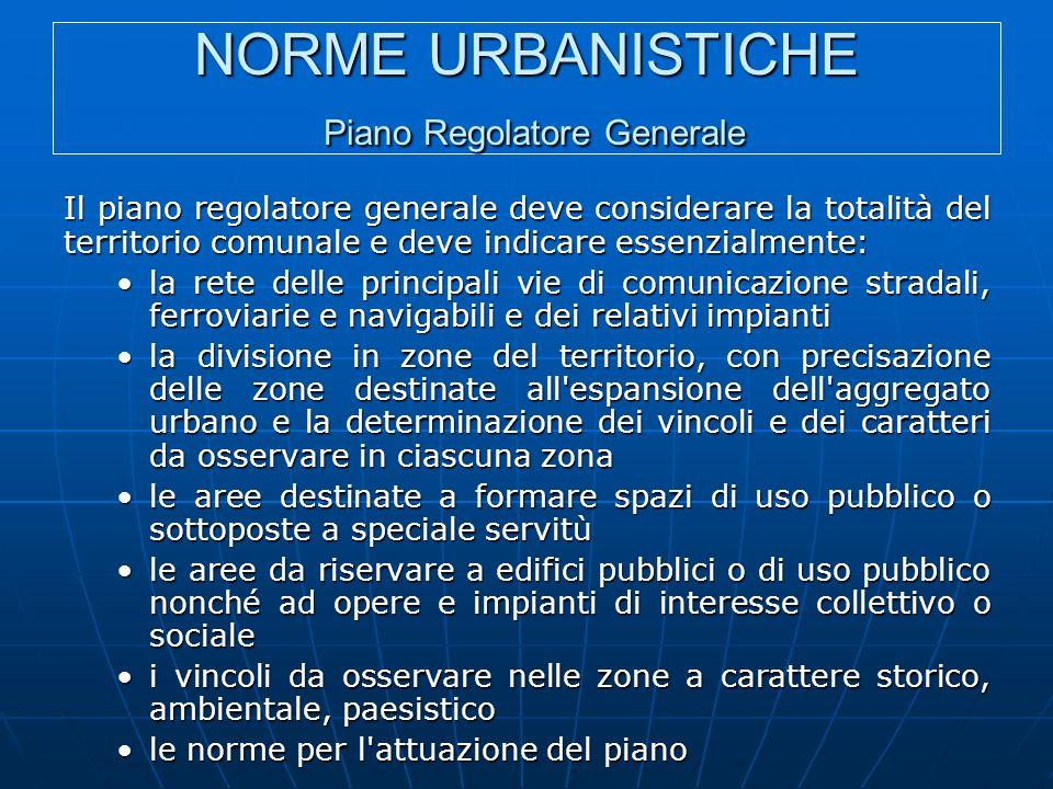 NORME URBANISTICHE Piano Regolatore Generale