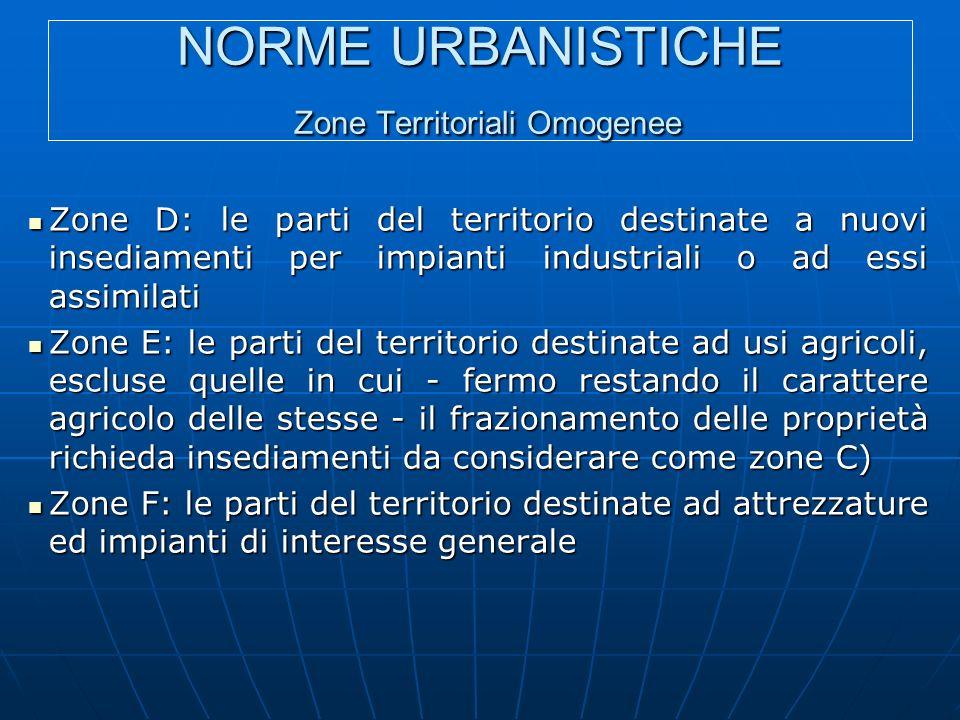 NORME URBANISTICHE Zone Territoriali Omogenee