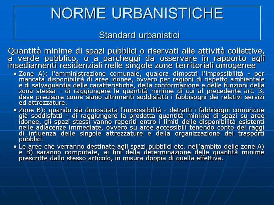 NORME URBANISTICHE Standard urbanistici