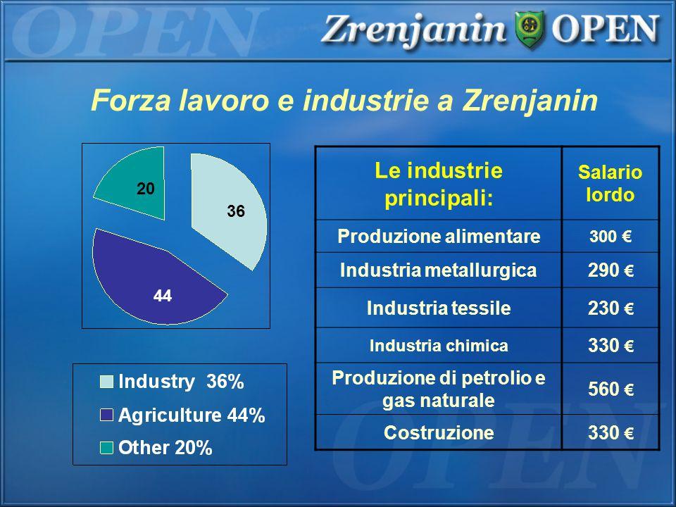 Forza lavoro e industrie a Zrenjanin