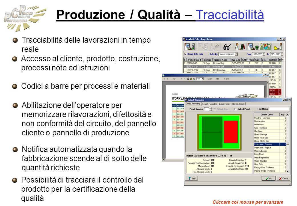 Produzione / Qualità – Tracciabilità
