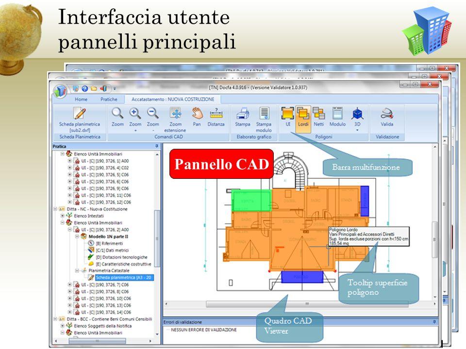 Interfaccia utente pannelli principali