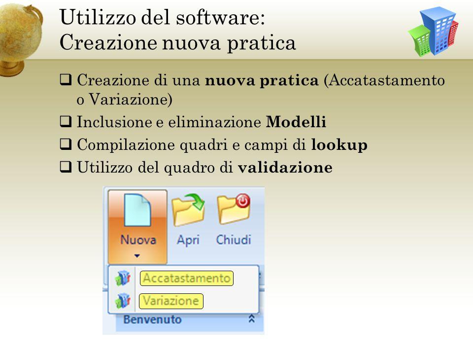 Utilizzo del software: Creazione nuova pratica
