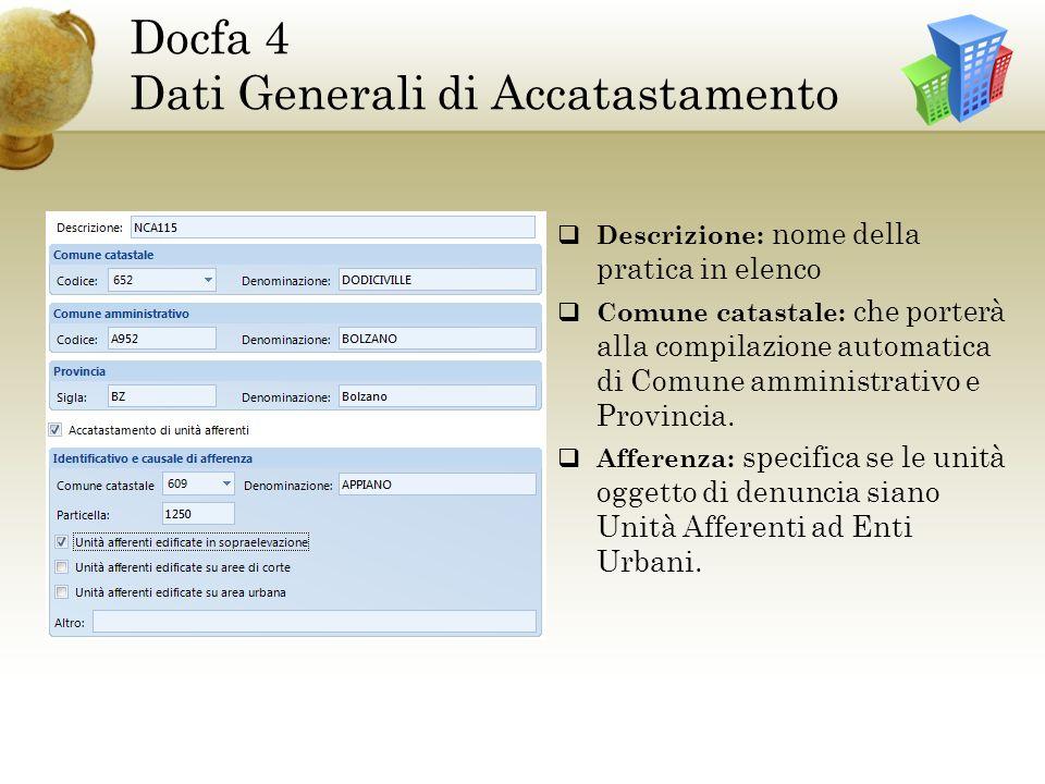 Docfa 4 Dati Generali di Accatastamento