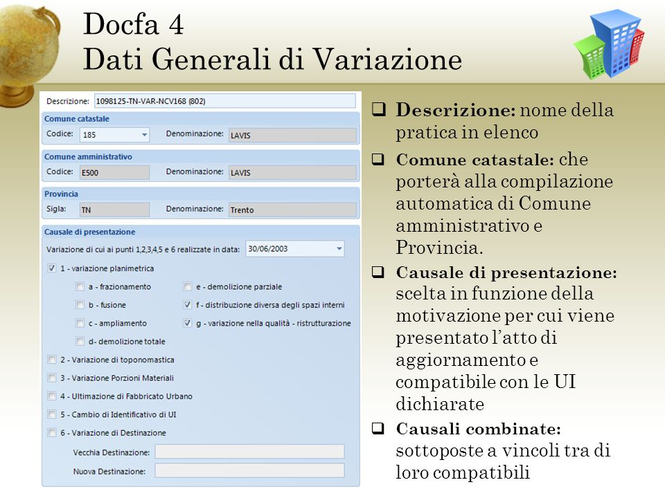 Docfa 4 Dati Generali di Variazione