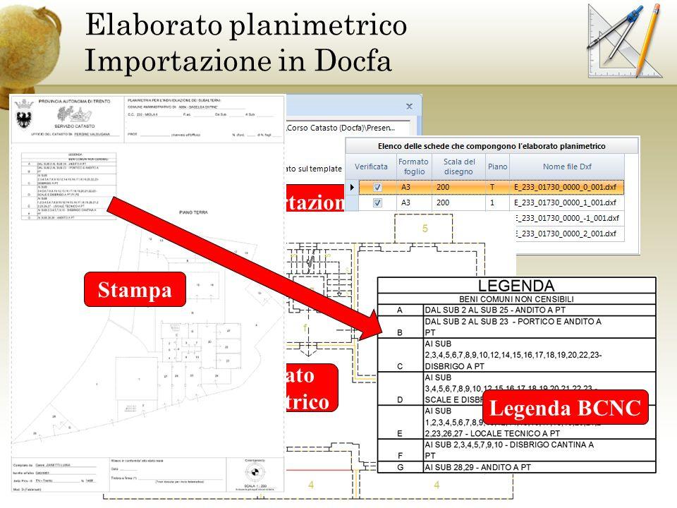 Elaborato planimetrico Importazione in Docfa