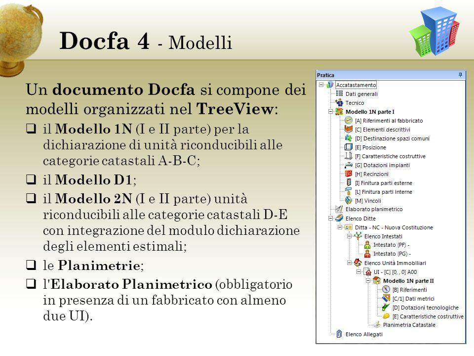 Docfa 4 - Modelli Un documento Docfa si compone dei modelli organizzati nel TreeView: