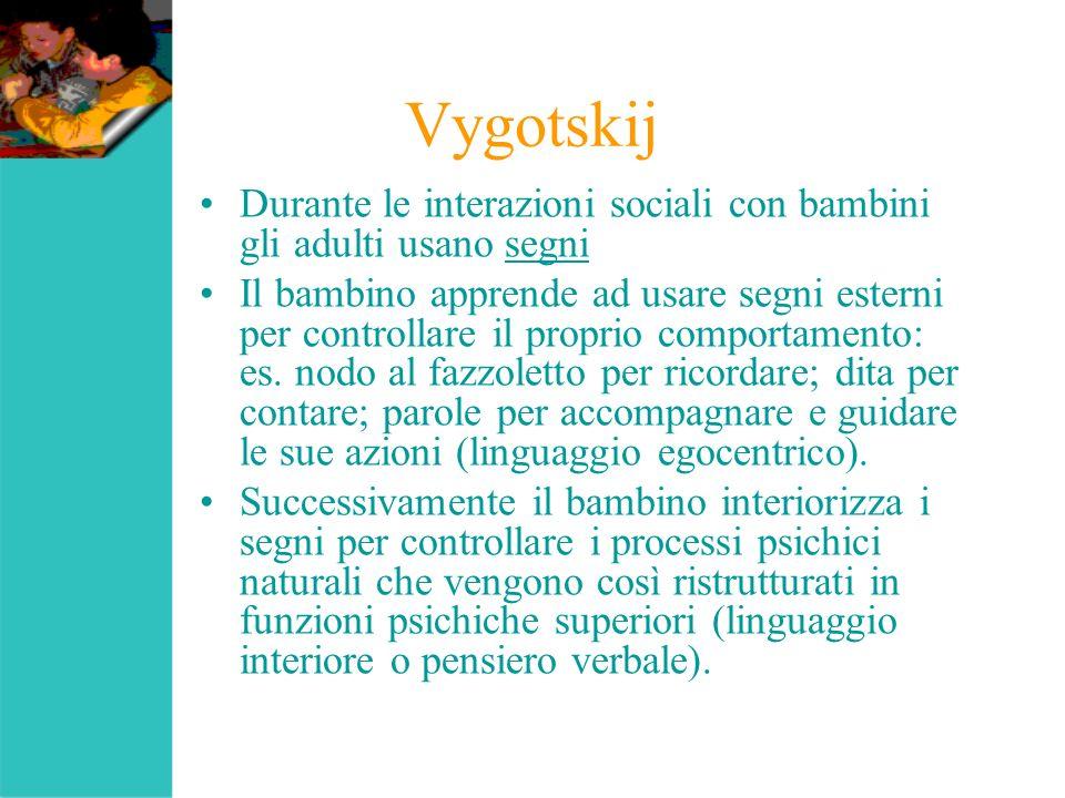 Vygotskij Durante le interazioni sociali con bambini gli adulti usano segni.