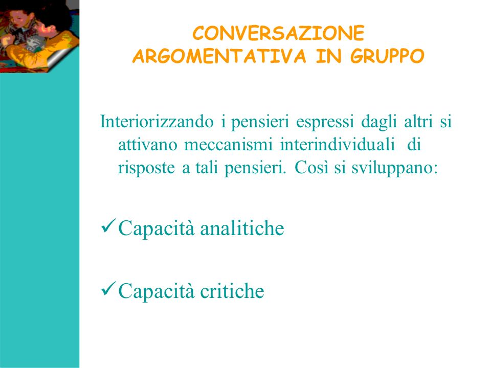 CONVERSAZIONE ARGOMENTATIVA IN GRUPPO