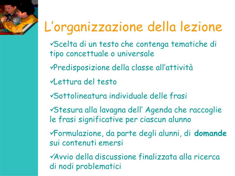 L'organizzazione della lezione