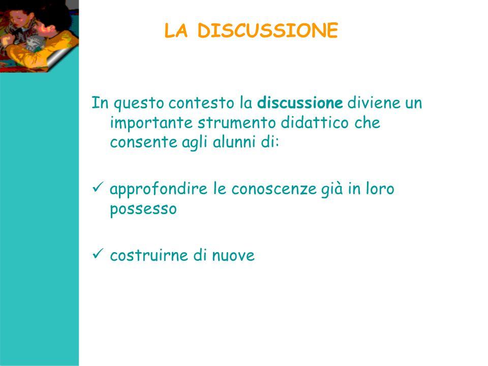 LA DISCUSSIONE In questo contesto la discussione diviene un importante strumento didattico che consente agli alunni di: