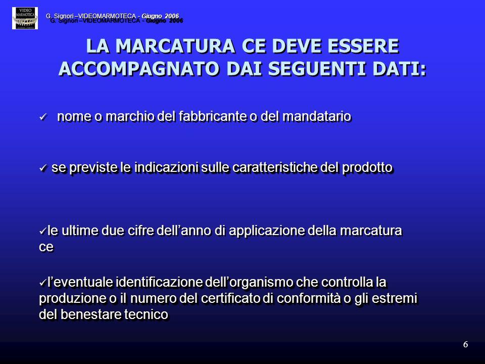 LA MARCATURA CE DEVE ESSERE ACCOMPAGNATO DAI SEGUENTI DATI: