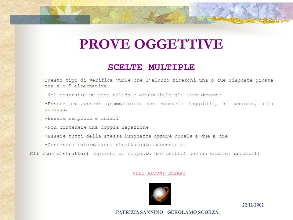 PROVE OGGETTIVE SCELTE MULTIPLE