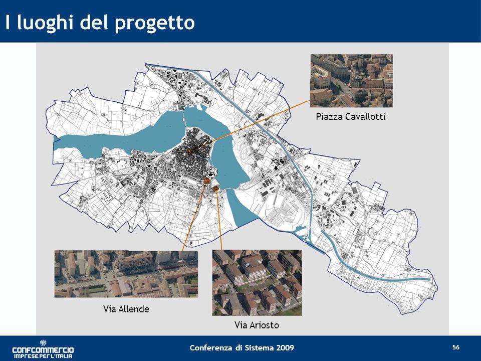 I luoghi del progetto Piazza Cavallotti Via Allende Via Ariosto