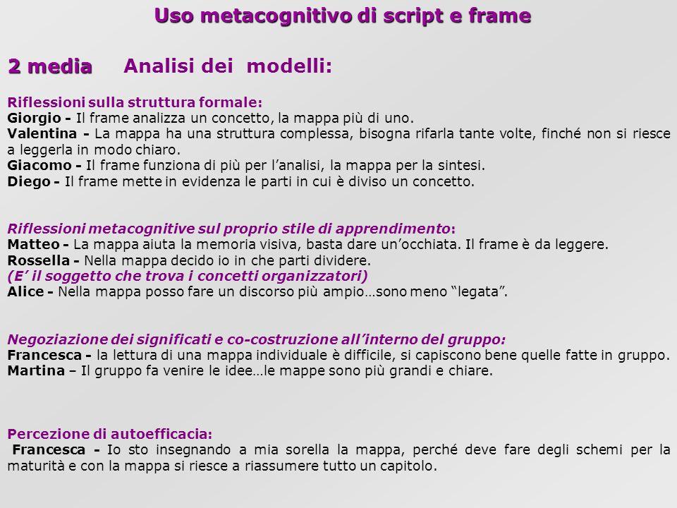Uso metacognitivo di script e frame