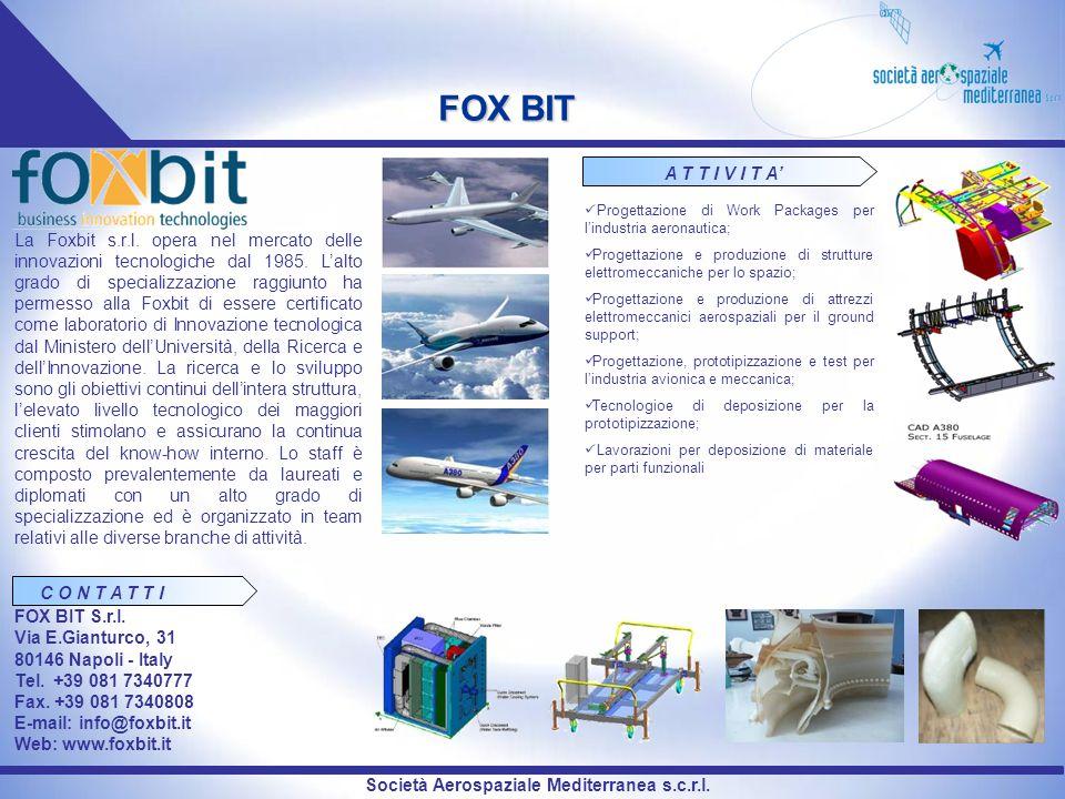 FOX BIT A T T I V I T A' Progettazione di Work Packages per l'industria aeronautica;