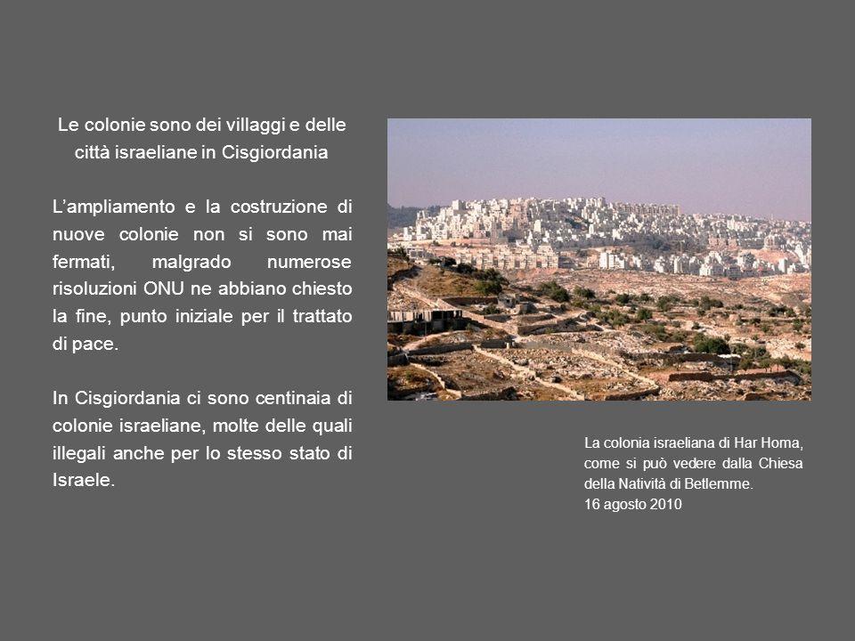 Le colonie sono dei villaggi e delle città israeliane in Cisgiordania