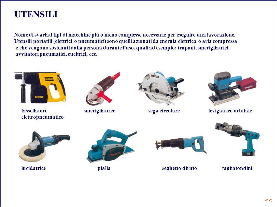 UTENSILI Nome di svariati tipi di macchine più o meno complesse necessarie per eseguire una lavorazione.