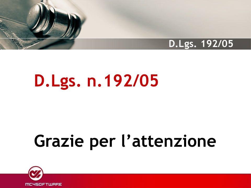 D.Lgs. n.192/05 Grazie per l'attenzione