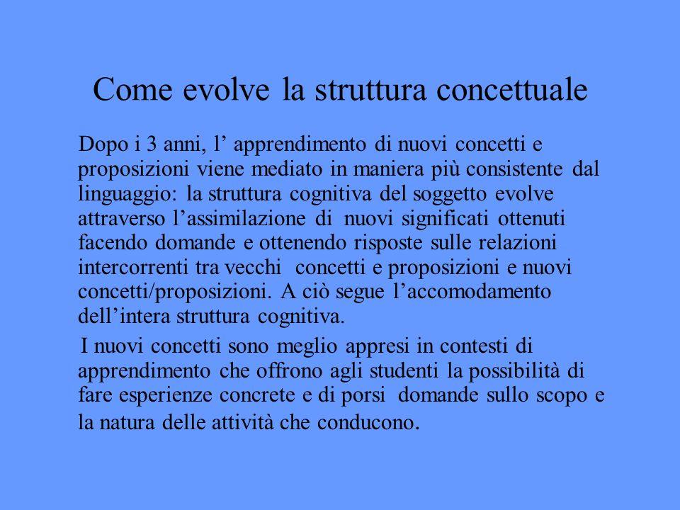 Come evolve la struttura concettuale