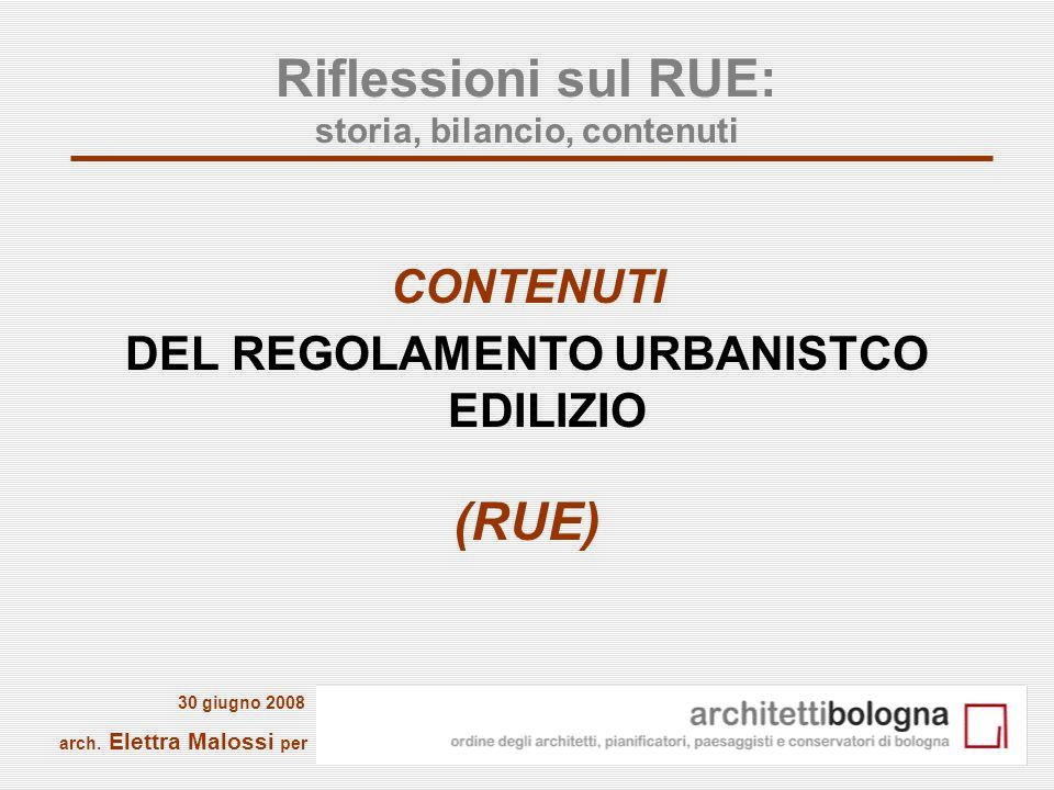 Riflessioni sul RUE: storia, bilancio, contenuti