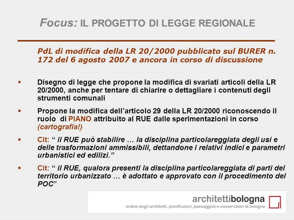 Focus: IL PROGETTO DI LEGGE REGIONALE