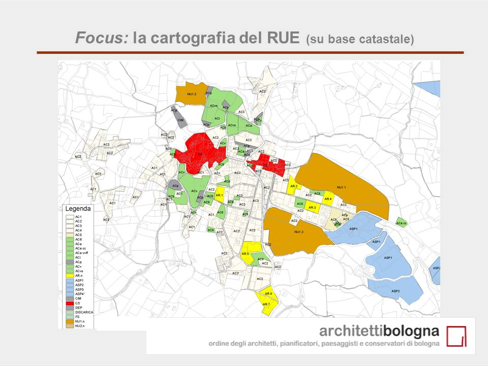 Focus: la cartografia del RUE (su base catastale)