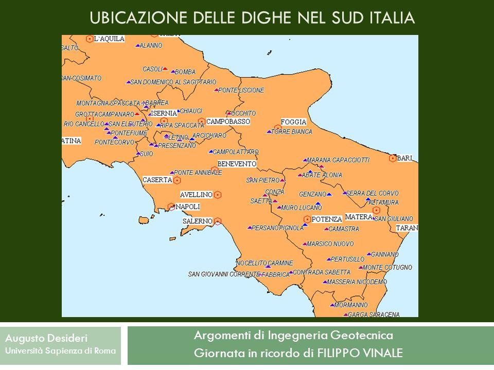UBICAZIONE DELLE DIGHE NEL SUD ITALIA