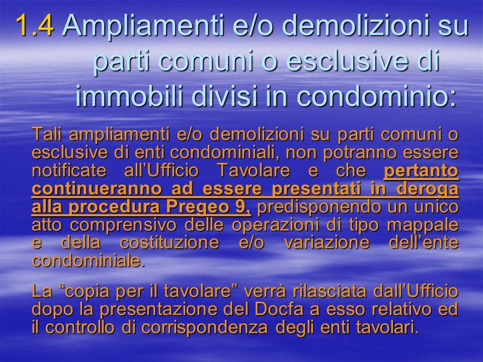 1. 4. Ampliamenti e/o demolizioni su. parti comuni o esclusive di