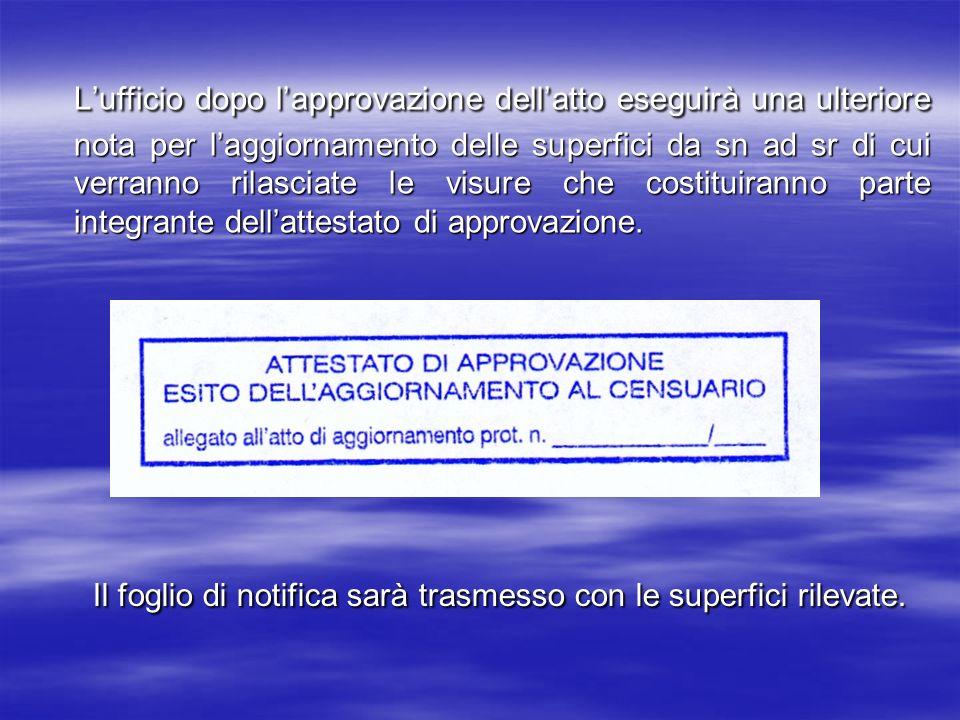 L'ufficio dopo l'approvazione dell'atto eseguirà una ulteriore nota per l'aggiornamento delle superfici da sn ad sr di cui verranno rilasciate le visure che costituiranno parte integrante dell'attestato di approvazione.